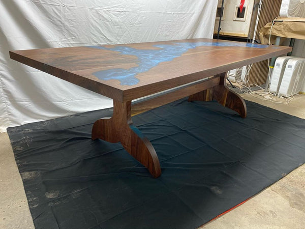 Walnut Epoxy Map Table