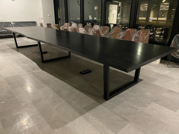 Black Coated Ash Table with Powder Coated Legs