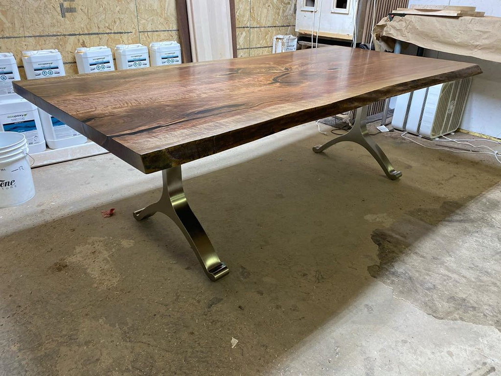 Live Edge Black Walnut Table with Brushed Nickel Legs