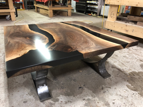 Black Epoxy River Dining or Conference Table 1