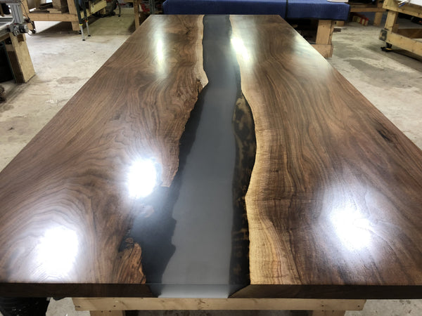 Conference Table - Black Walnut Epoxy River Waterfall Conference Table