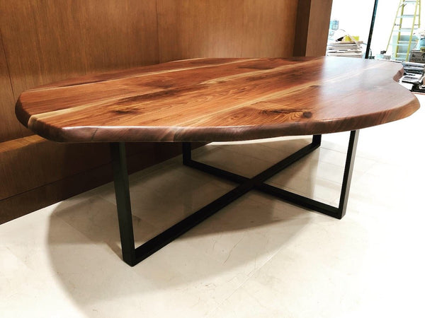 Conference Table - Black Walnut Conference Table With Plus Shape Base