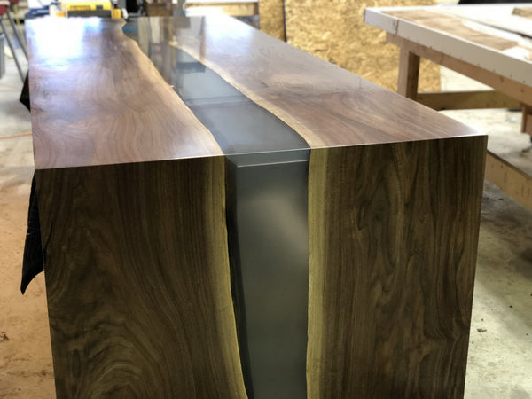 Conference Table - Black Walnut Epoxy River Waterfall Desk