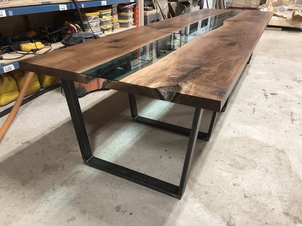 Conference Table - Black Walnut River Table With Custom Metal Trapezoid Legs