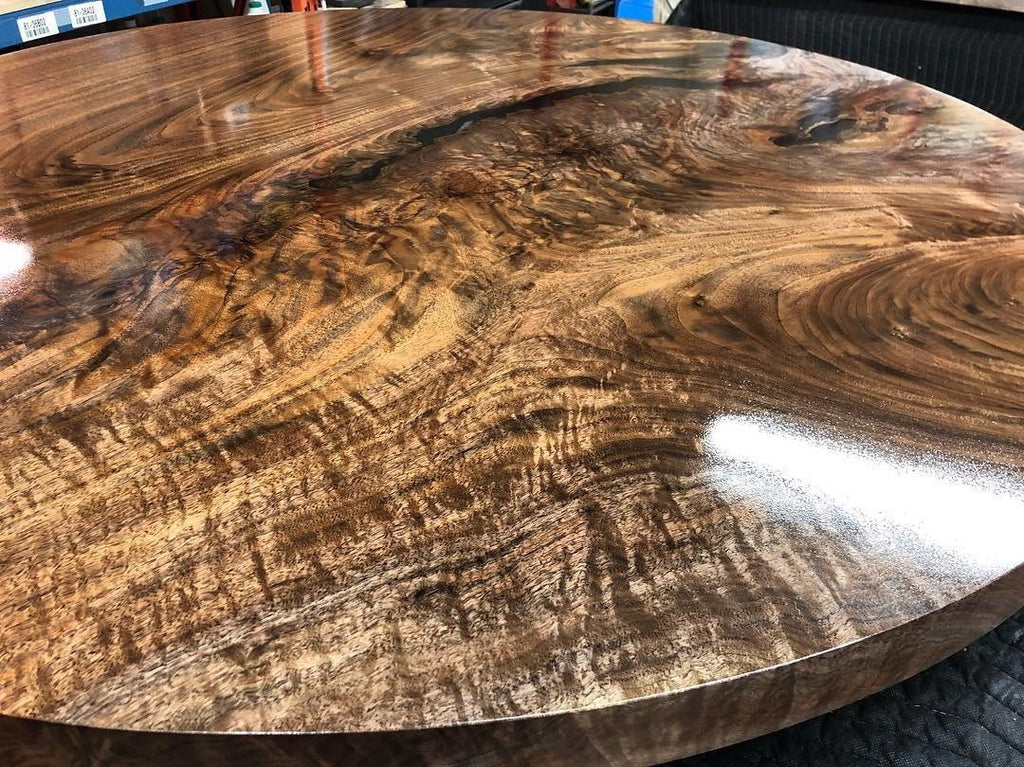 Dining Table - Round Black Walnut Dining Table With Epoxy Finish