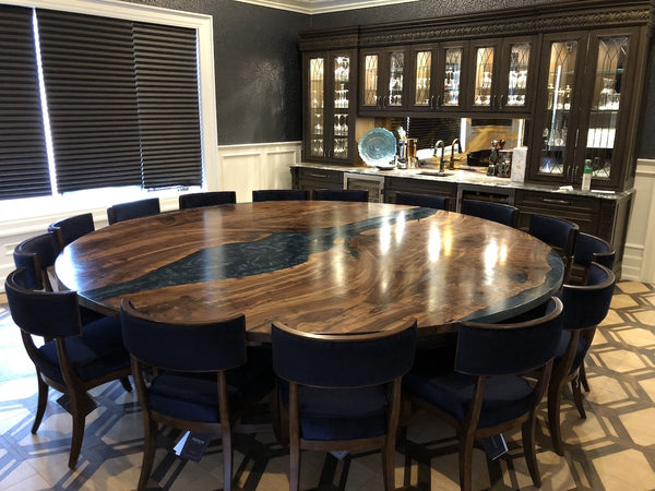 Hospitality - Claro Walnut Epoxy River Table With Custom Walnut Base