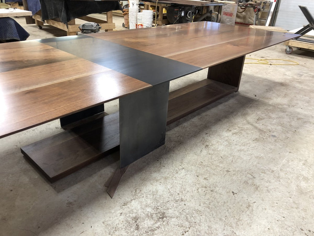 Dining Table - Black Walnut Table With Custom Metal Wood Walnut Base