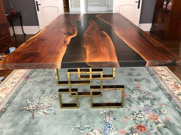 Dining Table - Walnut Black Epoxy River Dining Table / Brass Square Base