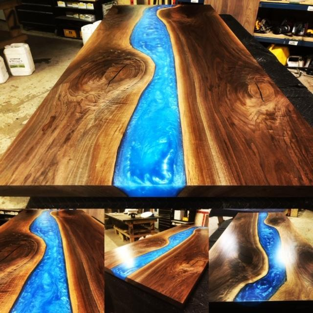 Dining Table - Blue Epoxy River Dining Or Conference Table