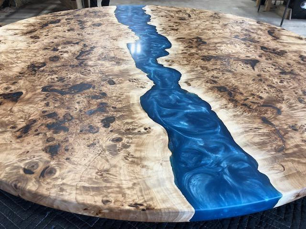 Conference Table - Mappa Burl Epoxy River Dining Or Conference Table