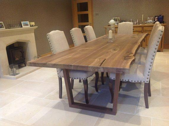 Dining Table - Walnut Live Edge Dining Table / Simple Leg Style