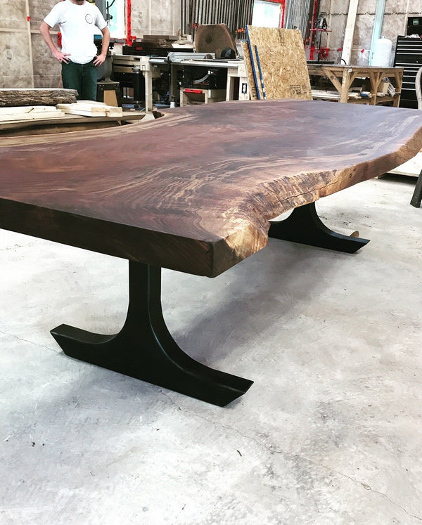Dining Table - Grafted Claro And English Walnut Dining Table With Custom Metal Legs