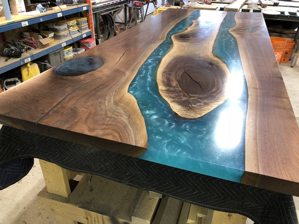 Epoxy Table - Black Walnut Turquoise Metallic Epoxy River Table