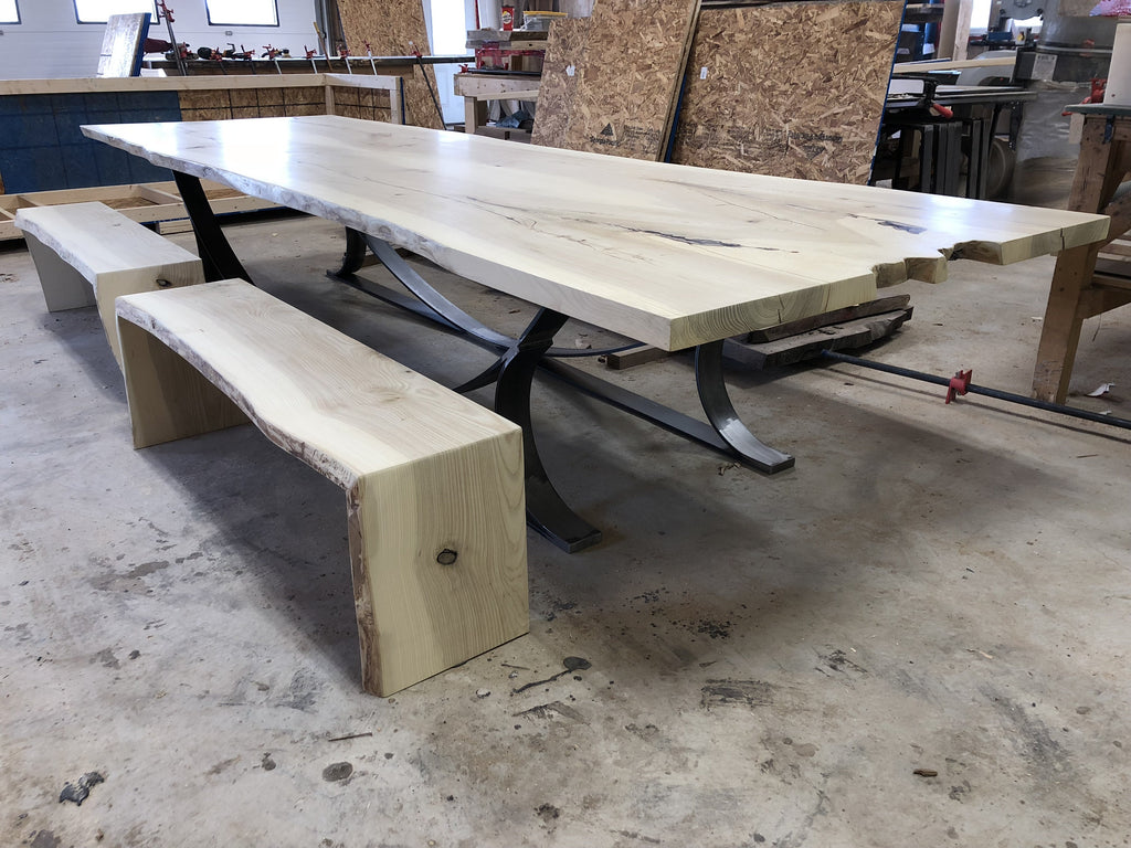 Dining Table - Live Edge Dining Table With Bench Seats
