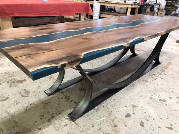 Dining Table - Walnut Blue Epoxy River Dining Or Conference Table