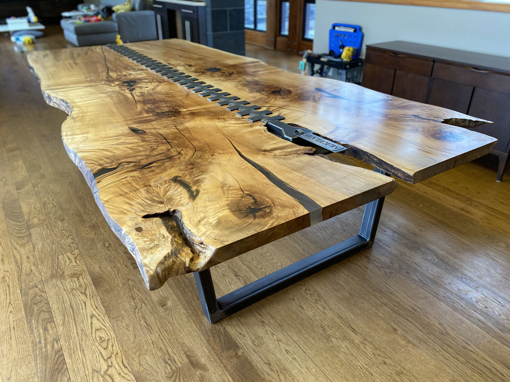 Live edge zip dining table side view