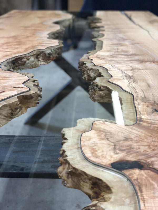 Coffee Table - Maple Glass River Table