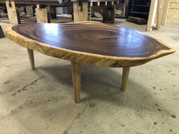 Coffee Table - Parota Cookie Coffee Table With Custom Maple Legs