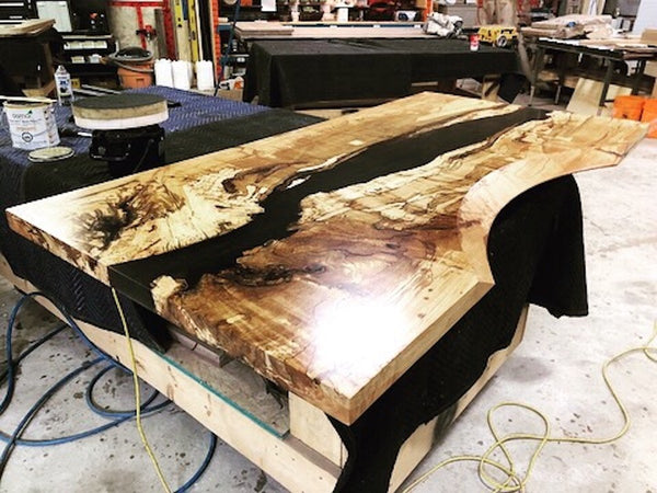 Conference Table - Spalted Maple Resin Ergonomic Desk