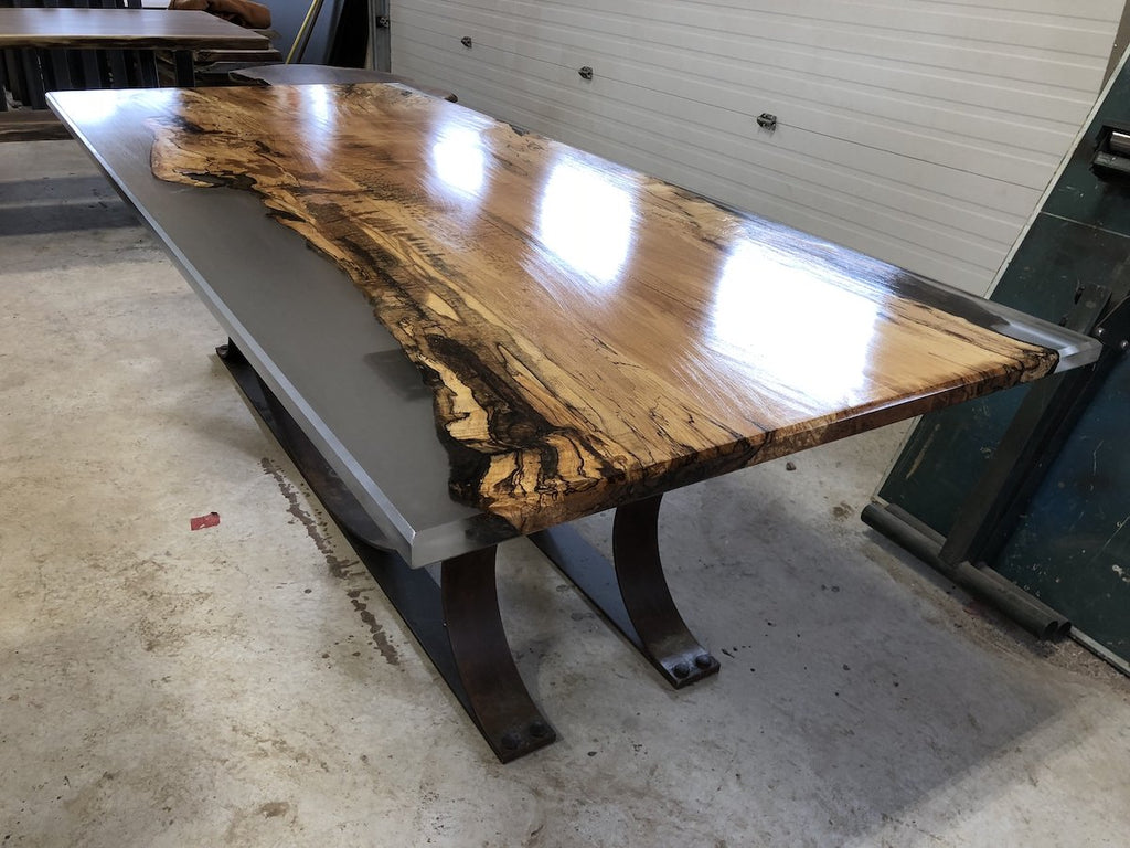 Conference Table - Spalted Maple Epoxy Table With Patina Half Moon Base