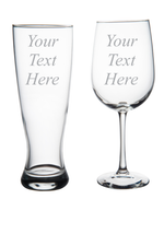Custom Etched 19 oz Wine Glass and 23 oz. Pilsner, you choose your text and font