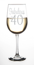 Fabulous and 40-Laser Etched 19oz. Wine Glass - Birthday Glass -