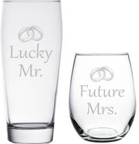 Lucky Mr. and Future Mrs. Toasting Glass Set- Engagement Gift for the happy couple