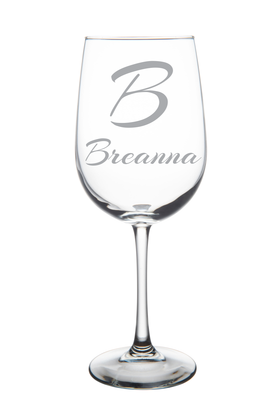 Monogrammed Initial Wine Glass(A1)