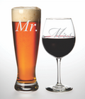 Mr. and Mrs. Beer and wine glass set - Perfect Bride and Groom toasting glasses. Great Couples Gift- Wedding Toasting Glass Set