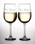 Mr. and Mrs. Wine Glass Set with Last Name and Date
