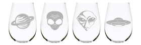 Alien stemless wine glass 17oz. Lead Free Crystal  (set of 4)