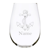 Nautical anchor with name 17 oz. stemless wine glass…