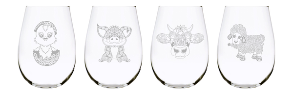 Baby farm animal 17oz. Lead Free Crystal stemless wine glass (set of 4)