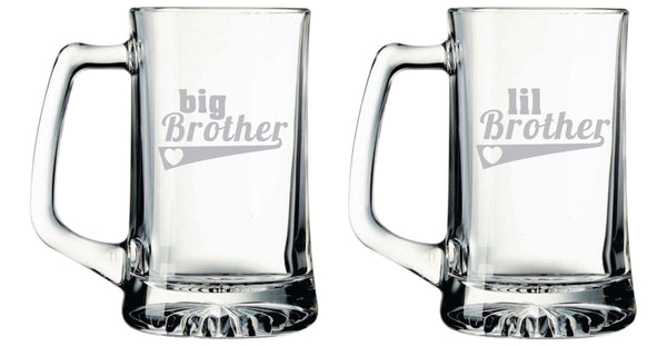 big Brother, lil Brother beer mugs, 25 oz.