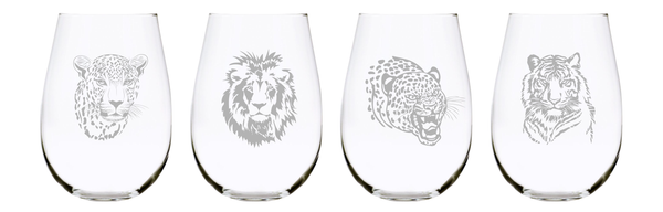 Big cats 17oz. Lead Free Crystal stemless wine glass (set of 4)