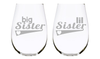 big Sister, lil Sister stemless set, 17oz. Lead Free Crystal