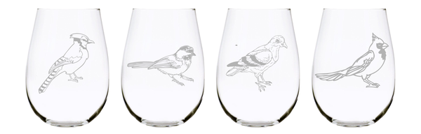 Birds stemless wine glass (set of 4) …17oz. Lead Free Crystal