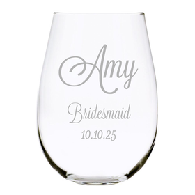 Bridal Party Stemless Wine Glass