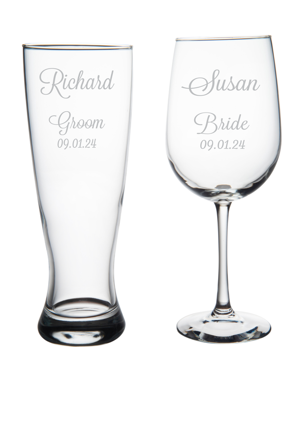 Groom Beer Pilsner Glass and Bride Wine Glass set