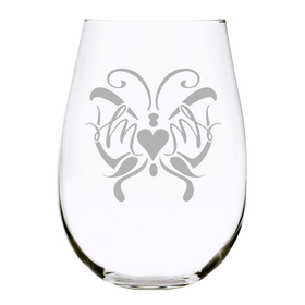 Butterfly Mom 17 oz. etched stemless wine glass