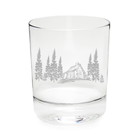 Cabin in the Woods Whiskey Rocks Glass (11oz)