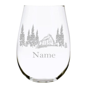 Cabin with name 17oz. Lead Free Crystal stemless wine glass