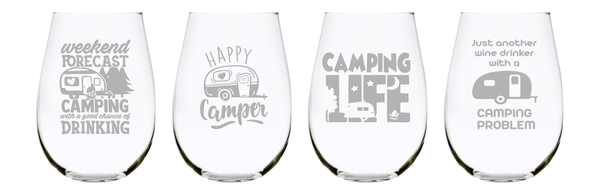 Camping stemless wine glass (set of 4) 17oz. Lead Free Crystal