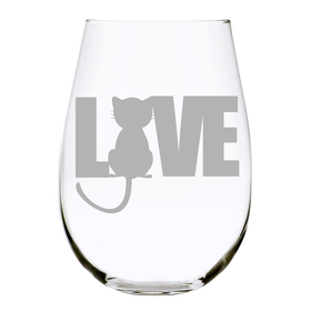 Cat LOVE stemless wine glass, 17 oz. Lead Free Crystal