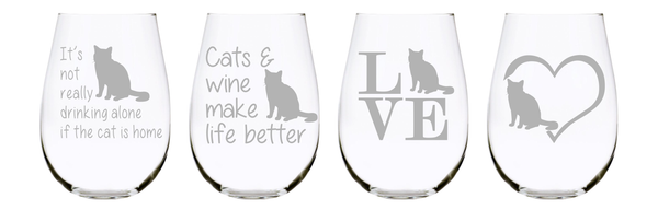 Cat stemless wine glass (set of 4) …17oz. Lead Free Crystal