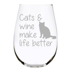 Cats & wine make life better stemless wine glass, 17 oz. Lead Free Crystal