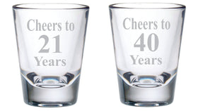 Cheers Birthday Shot Glass Set, 2 oz.