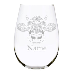 Cow with name 17oz. Lead Free Crystal stemless wine glass