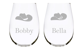 Cowboy and Cowgirl Hats with Names Stemless Set of Two, you choose your font. 17oz. Lead Free Crystal