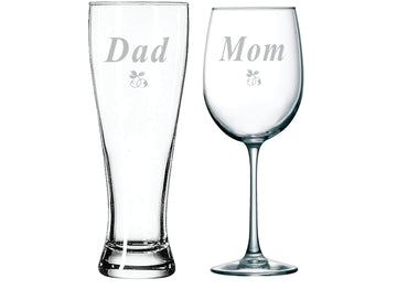 Dad beer and Mom wine glass (set of 2)